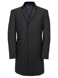 Paul Costelloe Grey With Velvet Collar Overcoat