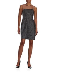 Vera Wang Embroidered Illusion Dress Black