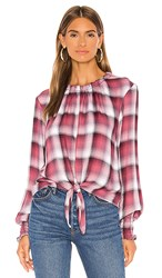 Bella Dahl Long Sleeve Tie Front Smocked Top In Red. Ombre Berry