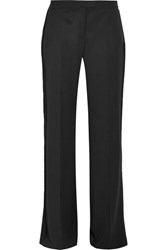 Stella Mccartney Fringed Wool Wide Leg Pants Black
