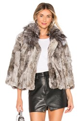Adrienne Landau Fur Collar Rabbit Jacket Gray