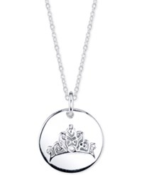 Disney Cinderella Tiara Message Disc Pendant Necklace In Sterling Silver