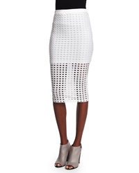 T By Alexander Wang Eyelet Jacquard Pencil Skirt White