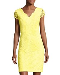 Donna Ricco Floral Lace Sheath Dress Yellow