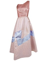 Vika Gazinskaya Pink Lurex Panel One Shoulder Dress