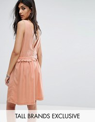 Noisy May Tall Drawstring Dress With Button Back Detail Dusty Peach Orange
