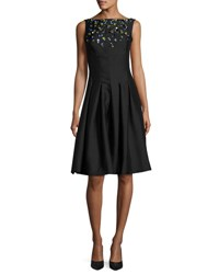 Lela Rose Jewel Embellished Faille Cocktail Dress Black Multi