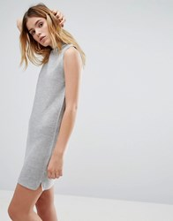 Native Youth Rib Effect Knitted Dress Grey