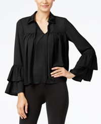 Cable And Gauge Faux Leather Collar Ruffled Blouse Black