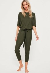 Missguided Khaki Ribbed Slouch Lounge Jumpsuit