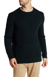 Kenneth Cole Long Sleeve Crew Neck Wool Blend Waffle Sweater Beige