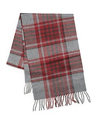 Saks Fifth Avenue Black Cashmere Plaid Scarf Bordeaux