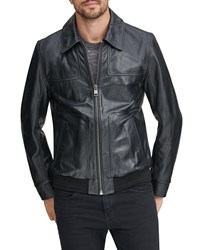 Andrew Marc New York Vaughn Zip Front Leather Jacket Black