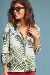 Vineet Bahl Palm Buttondown Green Motif