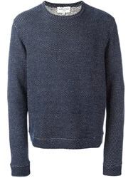 Ymc Dot Pattern Knit Sweatshirt Blue