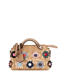 Fendi By The Way Mini Floral Straw Satchel Bag Natural Multi Neutral Pattern