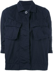 Sacai Crinkled Effect Military Jacket Blue