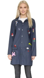 Mira Mikati Hand Painted Raincoat Navy