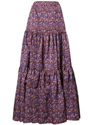 La Double J Floral Print Maxi Skirt Pink Purple