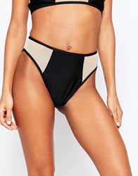 Jaded London Black And Nude Mesh Insert Bikini Bottoms Black Nude