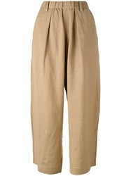 Y's Wide Leg Cropped Trousers Women Linen Flax Rayon 2 Brown