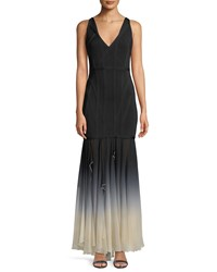 Herve Leger V Neck Sleeveless Bandage Evening Gown With Ombre Chiffon Skirt Black Pattern