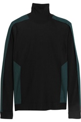 Pringle Two Tone Cashmere And Silk Blend Turtleneck Sweater Black