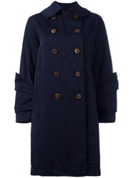 Comme Des Garcons Layered Cuff Coat Blue