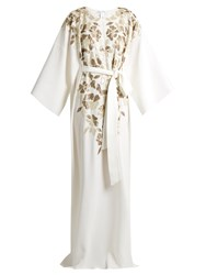 Oscar De La Renta Embroidered Lame Silk Crepe Gown White