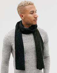 Armani Exchange All Over Logo Scarf In Black And Khaki