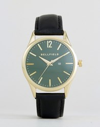 Bellfield Watch With Green Dial And Black Strap Grey