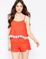 Girls On Film Romper With Lace Detail Red