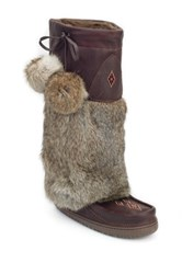 Manitobah Mukluks Tall Grain Genuine Rabbit Fur Mukluk Brown