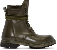 Rick Owens Green Leather Lace Up Army Boots