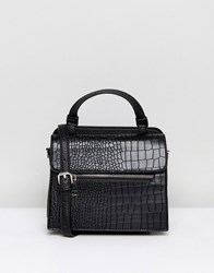 Lavand Mock Croc Across Body Bag With Handle Black