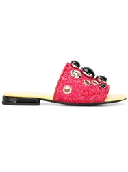 Toga Pulla Embellished Flat Sandals Red
