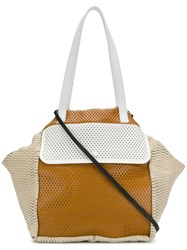 Carmina Campus Colour Block Tote Nude And Neutrals