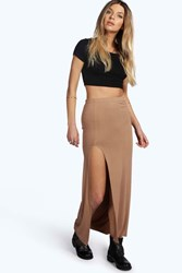 Boohoo Thigh Split Maxi Skirt Camel