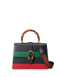 Gucci Dionysus Striped Bamboo Top Handle Bag Black Green Red