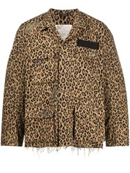 R 13 R13 Leopard Print Distressed Detail Jacket 60