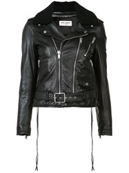 Saint Laurent Shearing Collar Leather Jacket Black