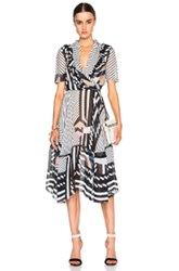 Preen By Thornton Bregazzi Samuel Dress In Stripes Black Geometric Print White