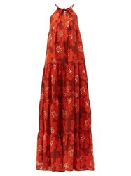 Dodo Bar Or Dorothy Tiered Floral Print Cotton Maxi Dress Burgundy Print