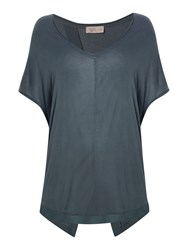 Label Lab Teal Split Back Chiffon Mix Tee