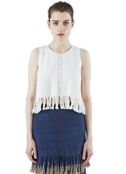 Voz Cropped Woven Fringed Tank Top White