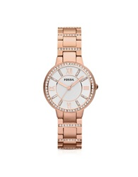 Fossil Virginia Three Hand Rose Golden Stainless Steel Women's Watch Pink