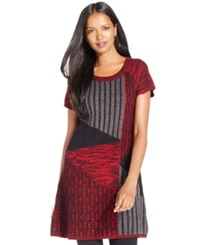 Style And Co. Patchwork Cable Knit Tunic Only At Macy's New Red Amore Deep Black