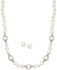 No Vendor Cultured Freshwater Pearl 6 9Mm And Filigree Necklace And Earring Set In Sterling Silver