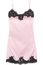 Dolce And Gabbana Lace Trimmed Stretch Silk Satin Chemise Baby Pink