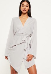 Missguided Grey Long Sleeve Kimono Wrap Dress